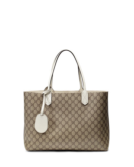 Reversible GG Leather Tote, Brown/White