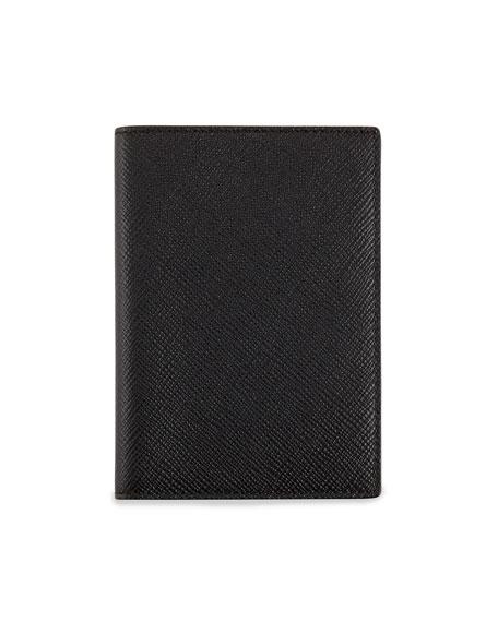 Smythson Panama Leather Passport Cover, Black