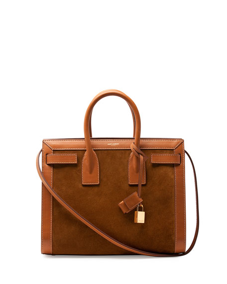 Sac de Jour Small Suede/Leather Tote Bag, Light Cognac