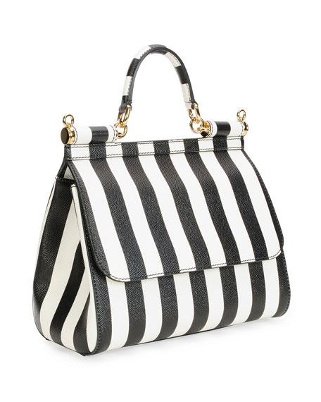 299908d53 Dolce & Gabbana Miss Sicily Striped Satchel Bag, White/Black