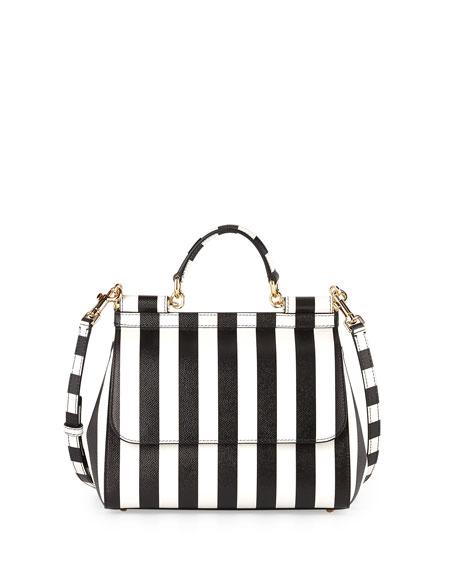 Miss Sicily Striped Satchel Bag, White/Black