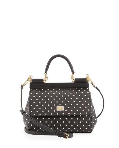 Miss Sicily Polka-Dot Satchel Bag, White/Black