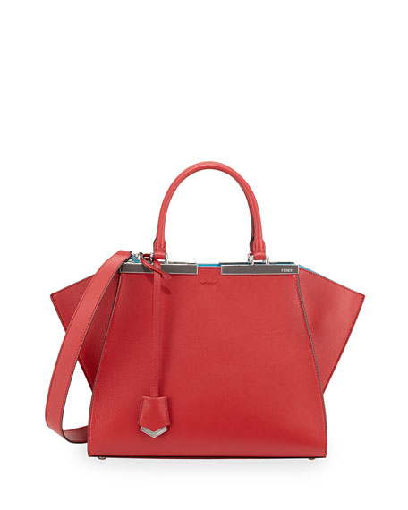 Fendi 3 Jours Leather Satchel Bag, Red/Turquoise