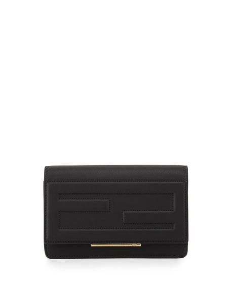 Fendi Leather Tube Wallet on a Chain, Black