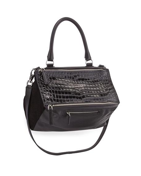Pandora Medium Leather Satchel Bag, Black