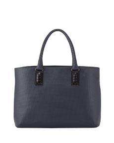 b9188d750 Bottega Veneta Intrecciato-Trim Stamped Medium Tote Bag, Navy/Black |  Neiman Marcus