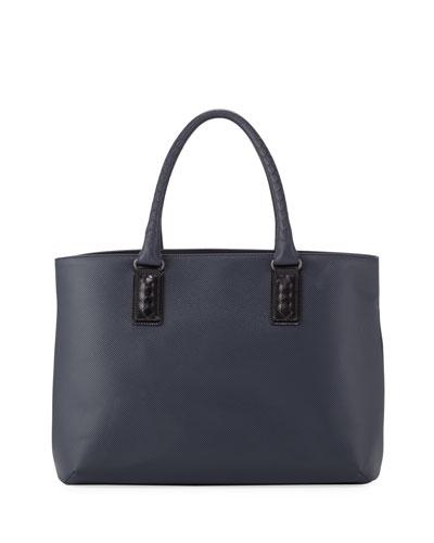 Intrecciato-Trim Stamped Medium Tote Bag, Navy/Black