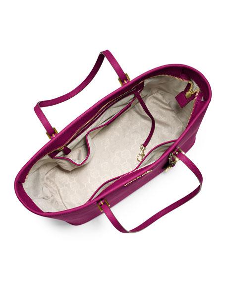 Jet Set Saffiano Travel Tote Bag, Fuchsia