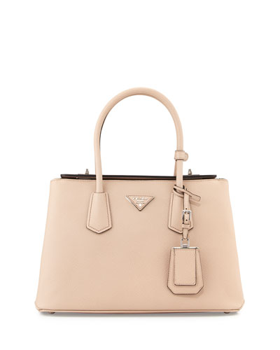 Saffiano Medium Cuir Double Bag, Blush (Cammeo)