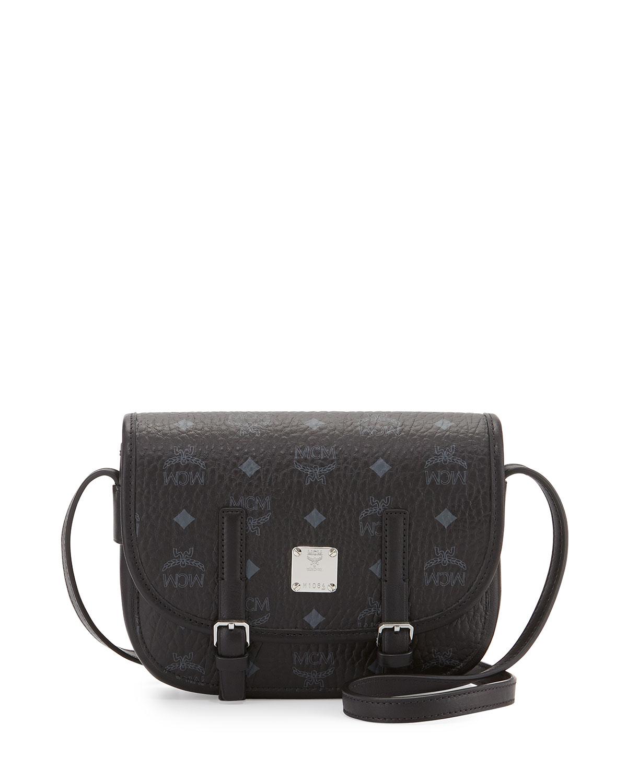 d660e129ffdb MCM Color Visetos Crossbody Flap Messenger Bag, Black | Neiman Marcus
