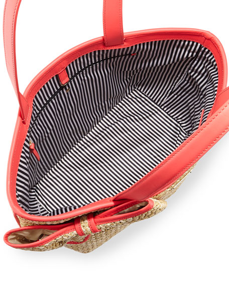 belle place straw summer tote bag, natural/geranium