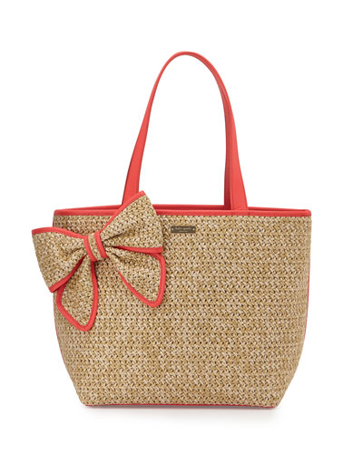 belle place straw summer tote bag, natural/geranium