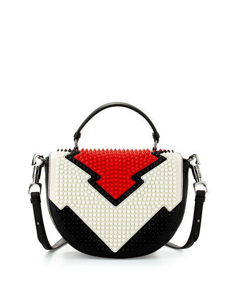 Christian Louboutin Panettone Spiked Messenger Bag, Red/White/Black