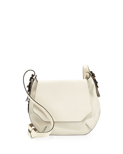 Bradbury Small Flap-Top Crossbody Bag, Bone