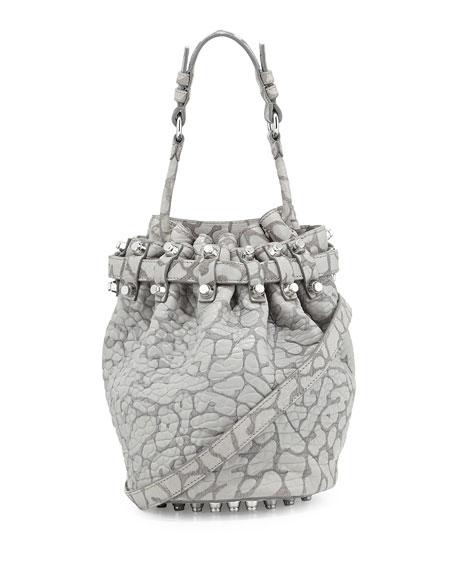 Diego Laser-Cut Pebbled Drawstring Bag, Light Concrete