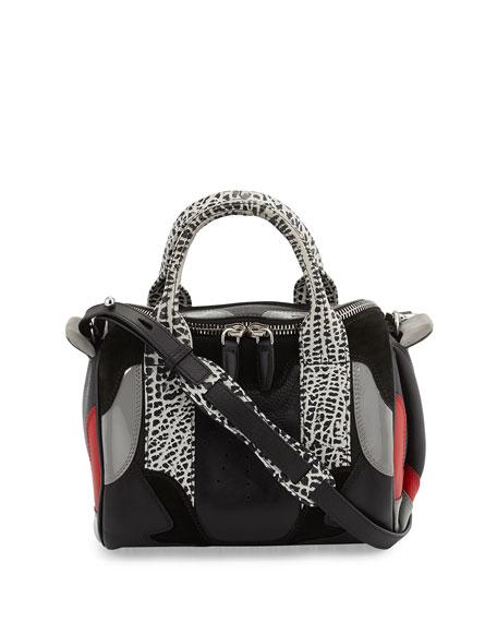 Rockie Sneaker Stud-Bottom Satchel Bag, White/Black