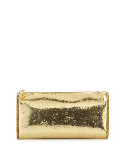 Lara Jumbo Metallic Clutch Bag, Gold