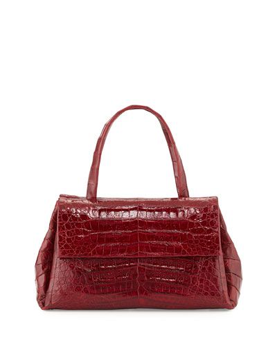 Medium Crocodile New Flap Satchel Bag, Red Shiny