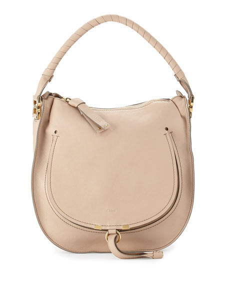 Chloe Marcie Leather Hobo Bag, Nude Beige