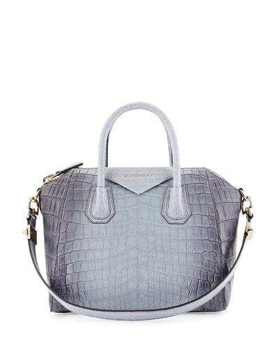 Antigona Small Crocodile Bag, Gray