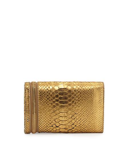 Alix Python Zip & Padlock Crossbody Bag, Gold