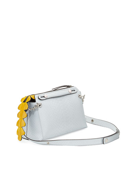 Fendi By The Way Small Python Satchel Bag, White/Yellow