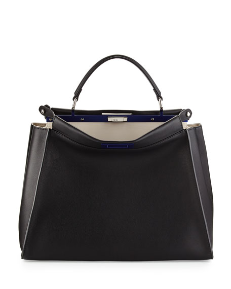 Fendi Peekaboo Large Satchel Bag, Black/White