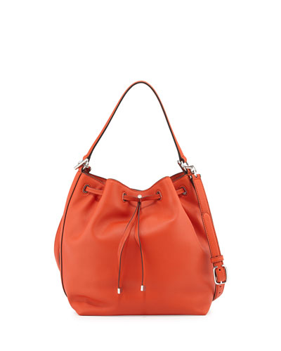 Toggle Drawstring Leather Bucket Bag, Equestrian Orange