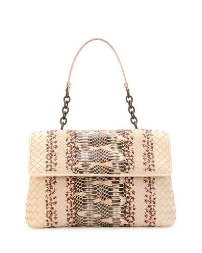Olimpia Mangrovia Snake Shoulder Bag, Pale Pink