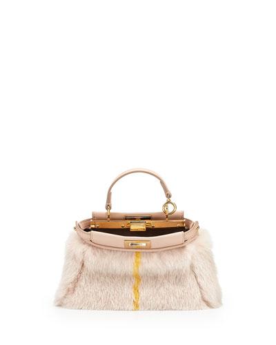 Mirco Peekaboo Satchel Bag, Light Pink