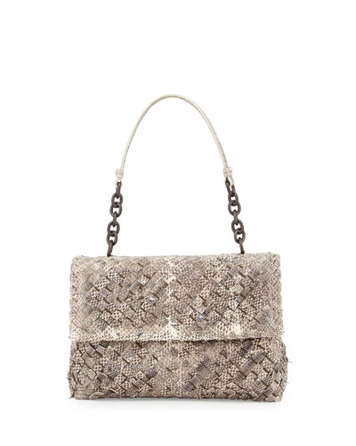Olimpia Woven Snakeskin Shoulder Bag, Natural