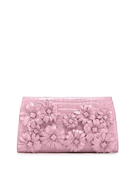 Slicer Flower-Applique Crocodile Clutch Bag, Baby Pink Matte
