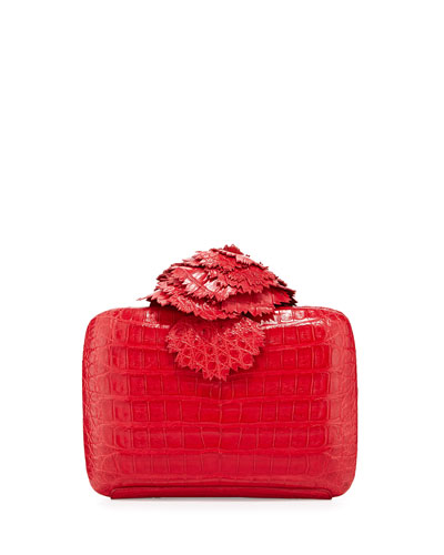 Crocodile Flower Minaudiere, Red