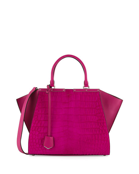 Fendi 3 Jours Petite Croc-Embossed Calf Hair Satchel Bag, Magenta