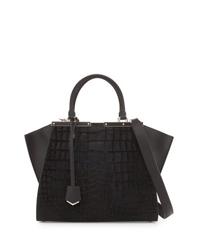 3 Jours Petite Croc-Embossed Calf Hair Satchel Bag, Black
