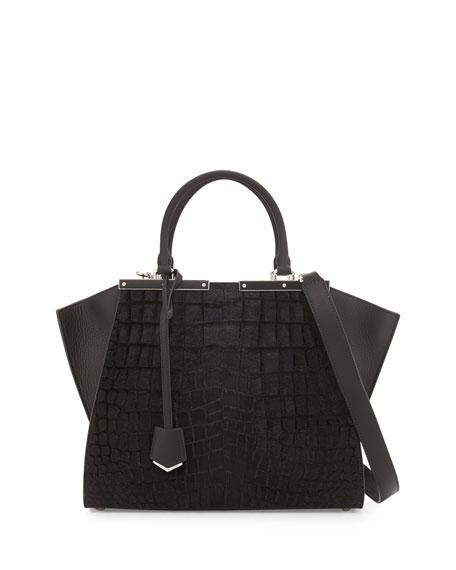 Fendi3 Jours Petite Croc-Embossed Calf Hair Satchel Bag,