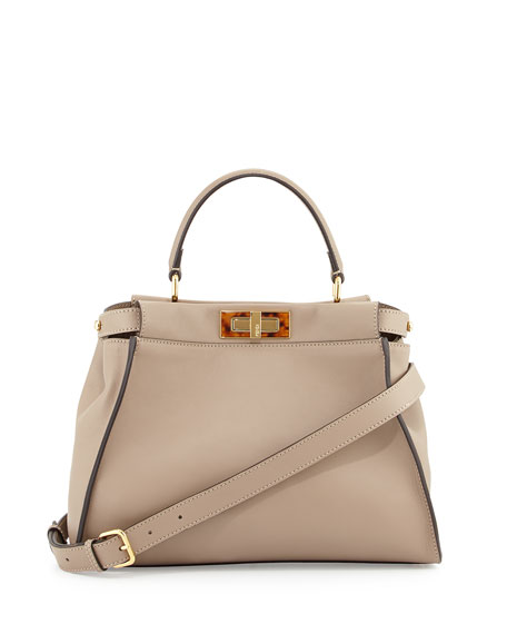 Fendi Peekaboo Medium Tortoise Satchel Bag, Gray