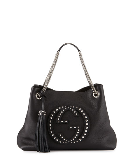 Gucci Soho Chain-Strap Studded Leather Shoulder Bag, Black
