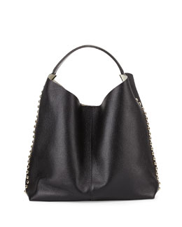 Stud-Trim Leather Hobo Bag, Black/Light Gold