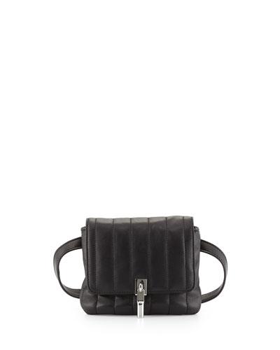 Cynnie Lambskin Belt Bag, Black