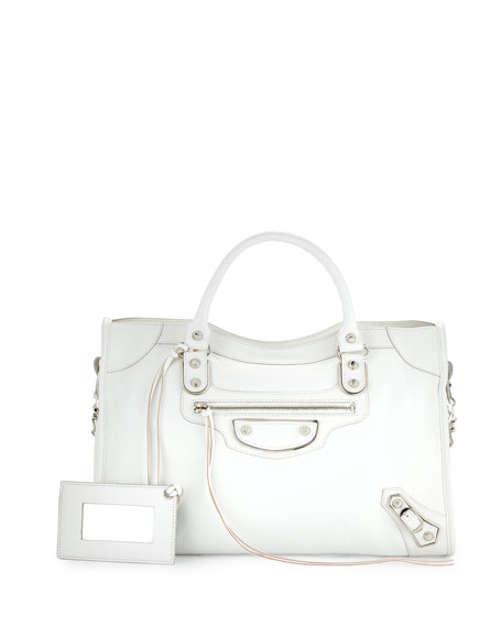 Metallic Edge City Bag, White