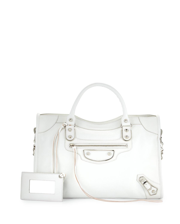 Metallic Edge City Bag White