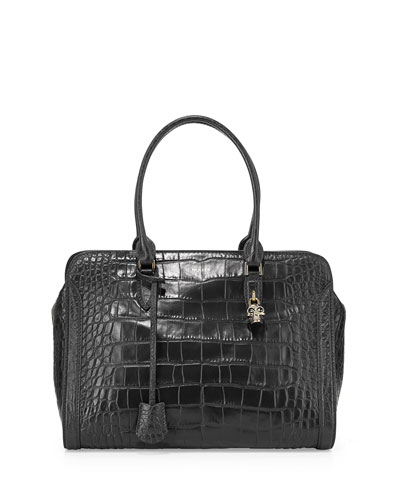 Skull Padlock Croc-Embossed Satchel Bag, Black