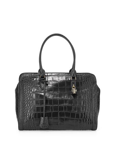 Alexander McQueen Medium Croc-Embossed Padlock Satchel Bag, Black