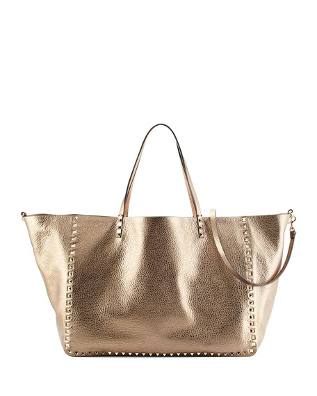 Valentino Rockstud Metallic Large Tote Bag, Silver/Soft Gold