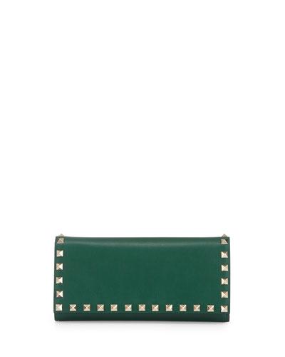 Rockstud Leather Wallet-on-Chain, Green