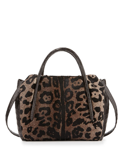 Calf Hair/Crocodile Medium Ruched Satchel Bag, Leopard