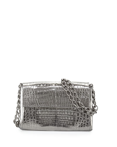 Crocodile Small Chain-Strap Shoulder Bag, Anthracite