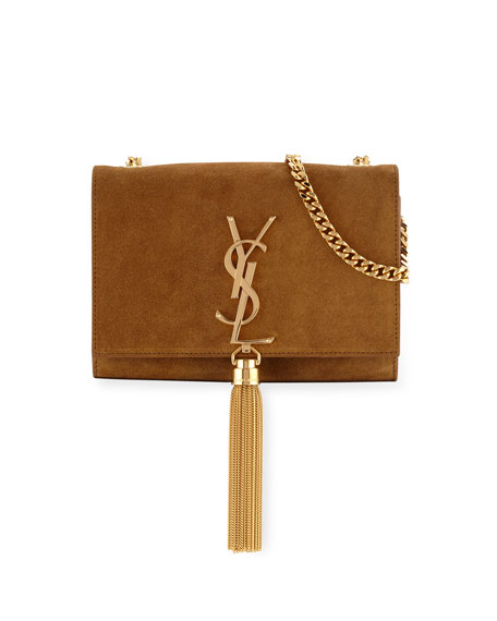 Monogram Small Suede Tassel Crossbody Bag, Camel