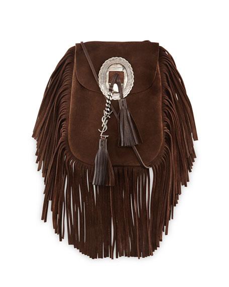 Saint Laurent Anita Suede Flat Fringe Crossbody Bag, Dark Brown